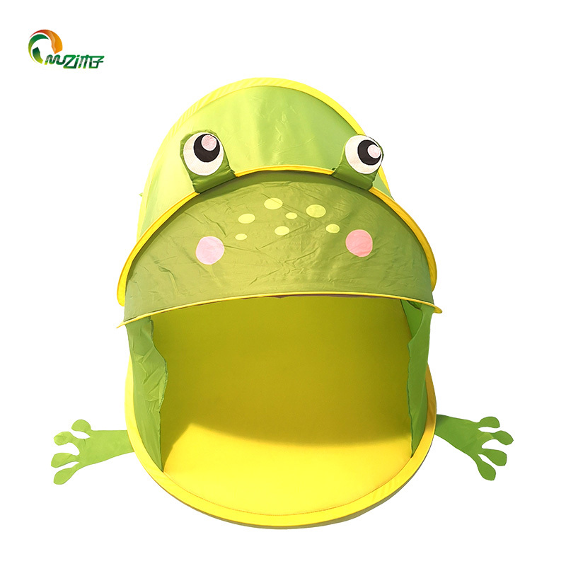 Frog-shaped childrens indoor play tent with no door for pop up type polyester fabric D-002