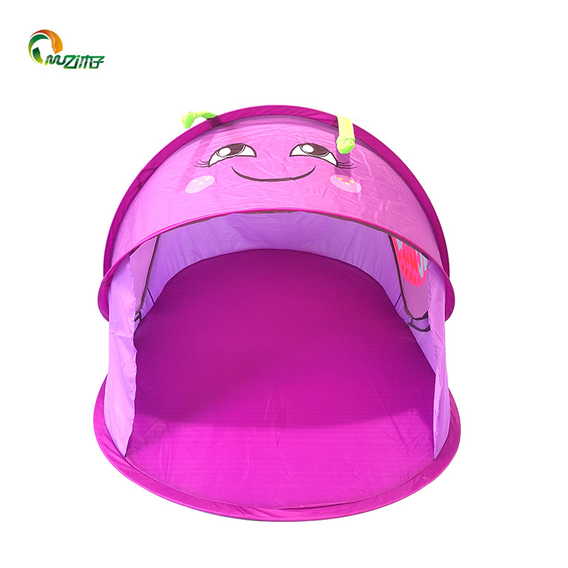 Purple butterfly shape 3 seconds open children's tent solid fiberglass pole pop up tent for girls D-003