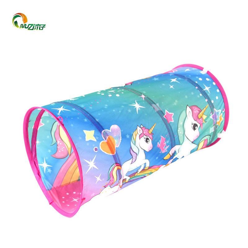 Unicorn pattern heat transfer printing baby  tent crawling tunnel M-003 spring steel tent