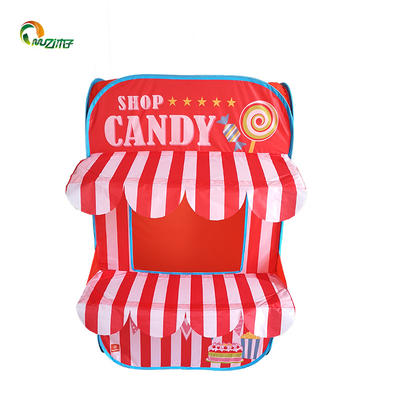 Bottomless pop up playhouse tent steel wire candy house shop printed polyester fabric S-002 children's tent