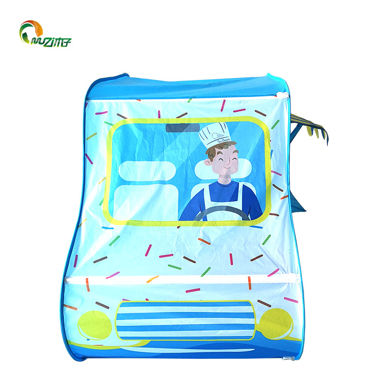 Children's pop up play tent designed like ice cream van girls boys toy play tent s-004 polyester fabrice with steel wire