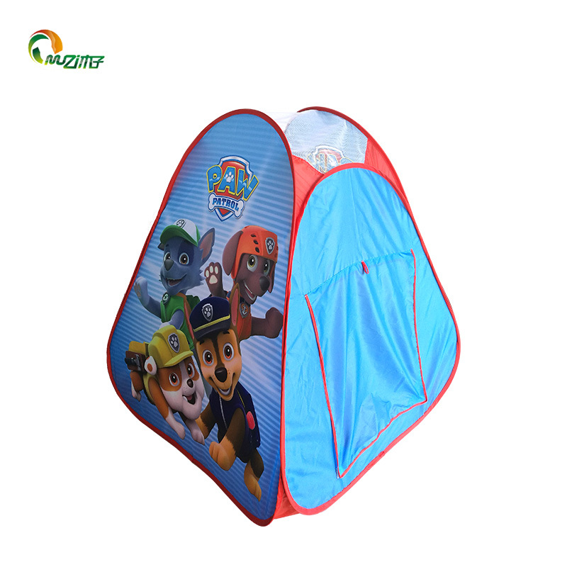 Pop up play tent with PJ mask / unicorn / frozen / LOL design polyester fabric steel wire frame S-005
