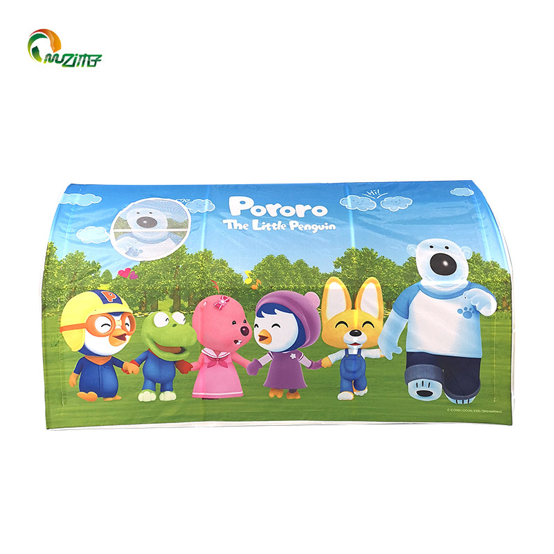 Semi-circular tunnel korean pororo-pattern printed children playing manual assembly kids popup tent pvc pipe frame