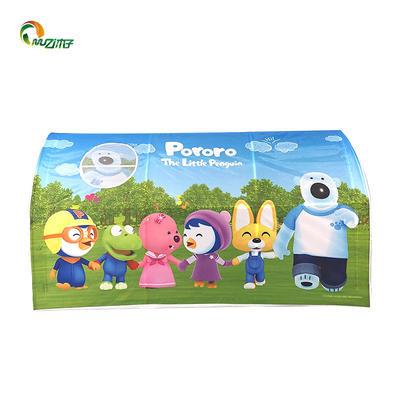 Semi-circular tunnel korean pororo-pattern printed children playing manual assembly kids popup tent pvc pipe frame
