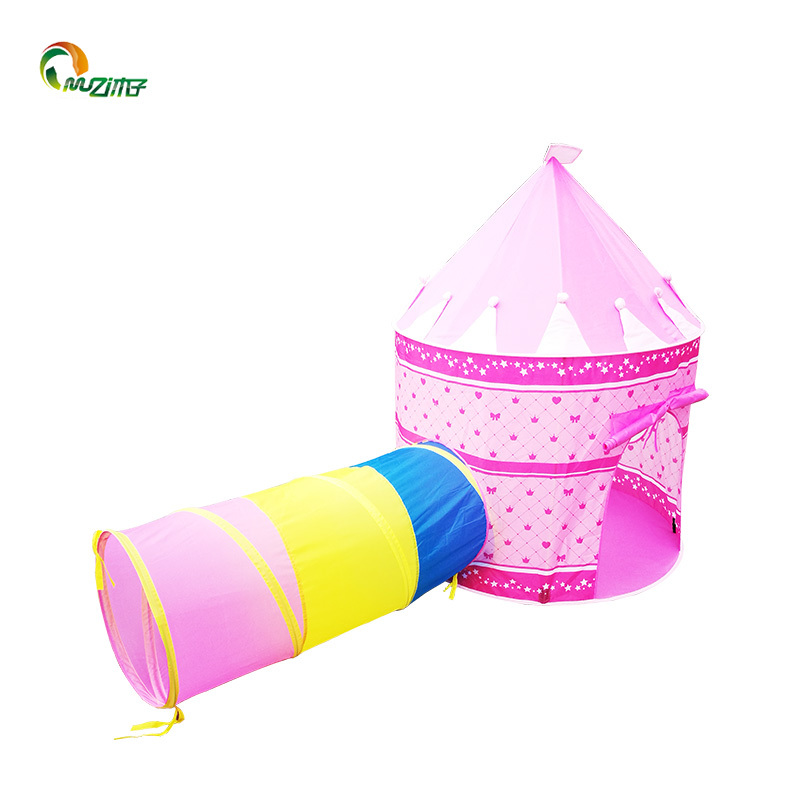 3pc Boys and girls'Princess tent combined tunnel connecting indoor and outdoor polyester breathable fabric play tent for children Z-001