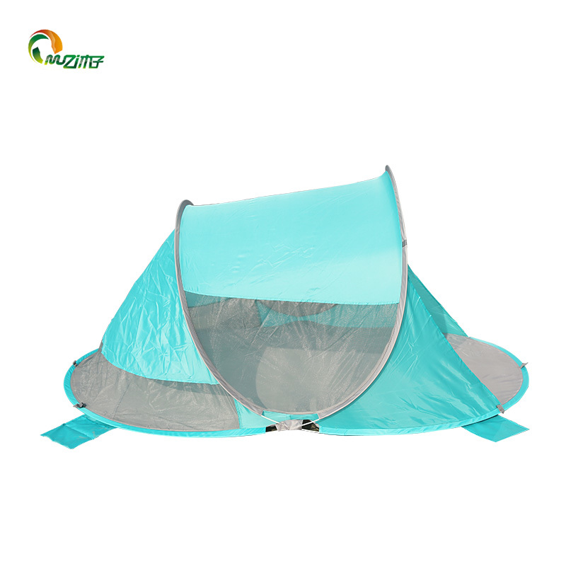 Double anti-ultraviolet 50+ fabric automatically pop up beach shade tent with 4 pegs solid fiberglass P-002