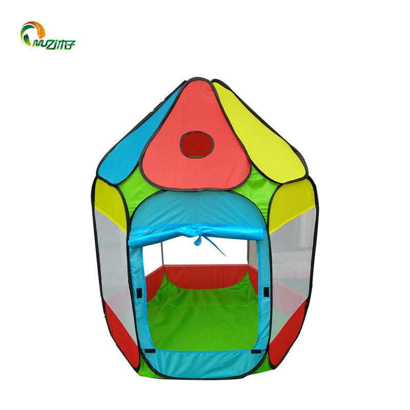 Six-sided ball roof steel wire pop up tent red, yellow and blue with ocean ball play tent  S-002