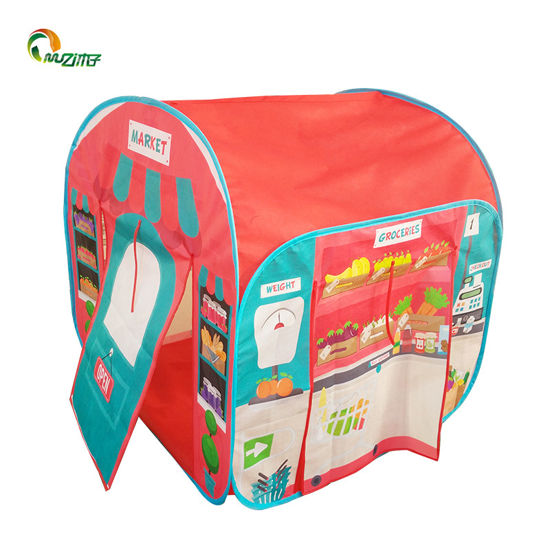 Pop-up play tent of environmentally friendly non-woven fabric with Steel Wire frame market shop S-006