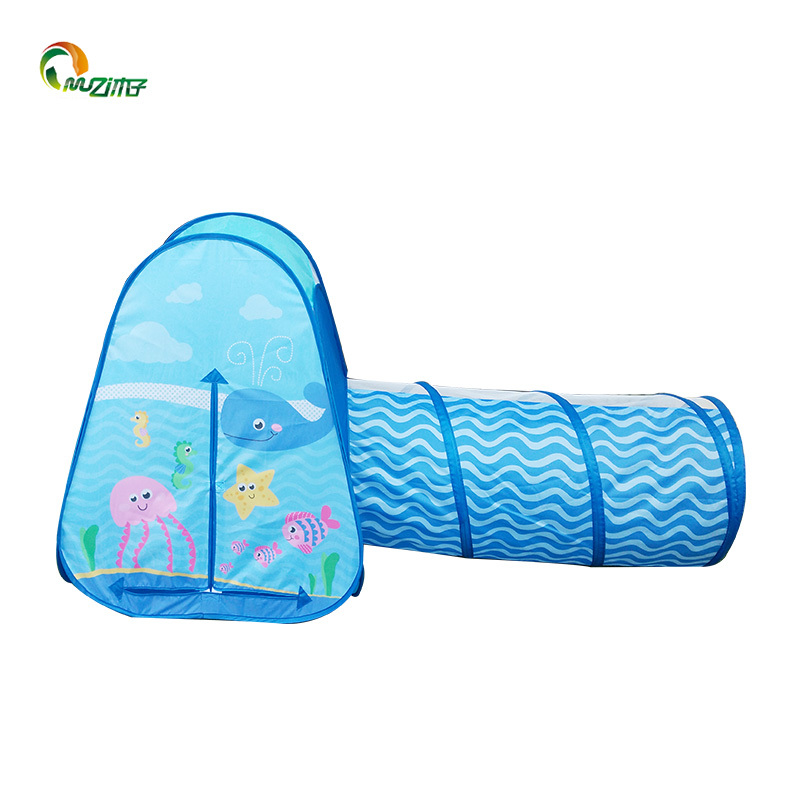 Pop-up tent kids with tunnel 2piece sea world printed polyester steel wire tent blue boy style Z-002