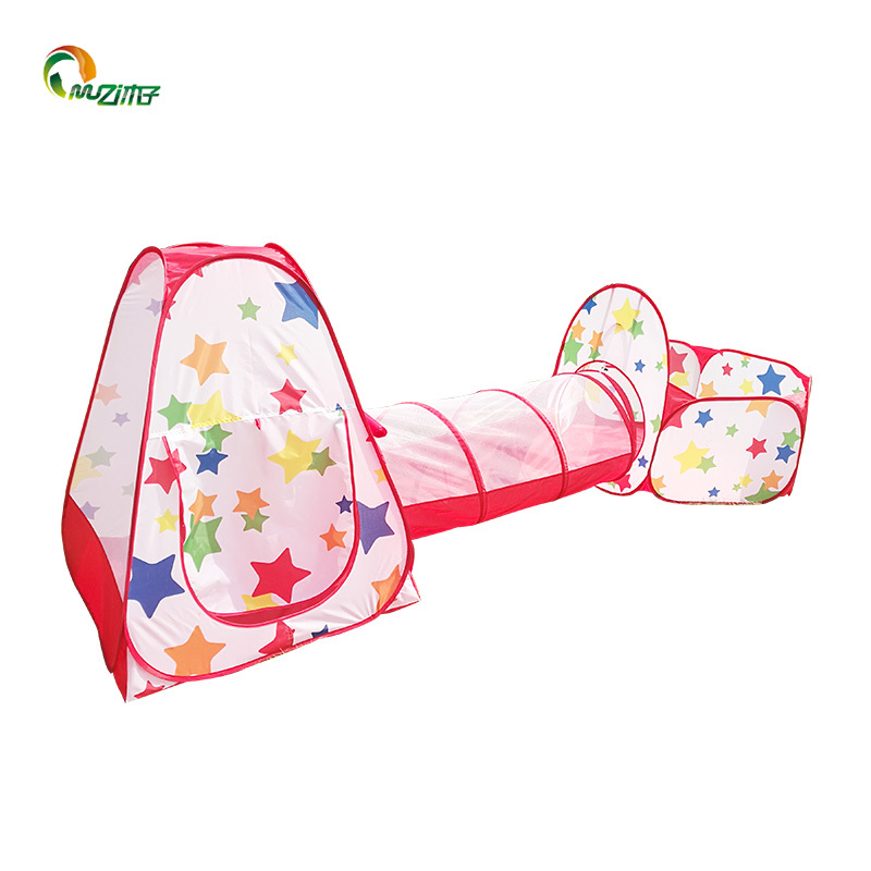 Pop-up 3pc tent with thermal transfer printing pentagrams ordered steel wire frame  children play tent Z-003